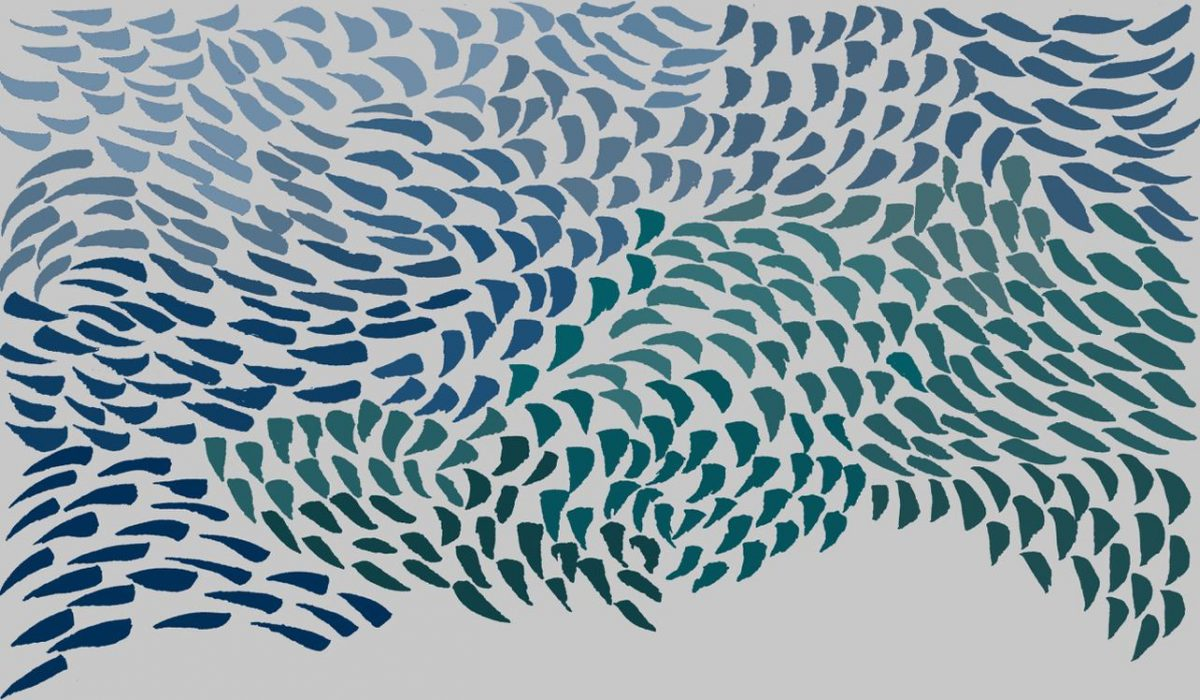 Wave drawing by Anne Gravelle for a Murmuration commission