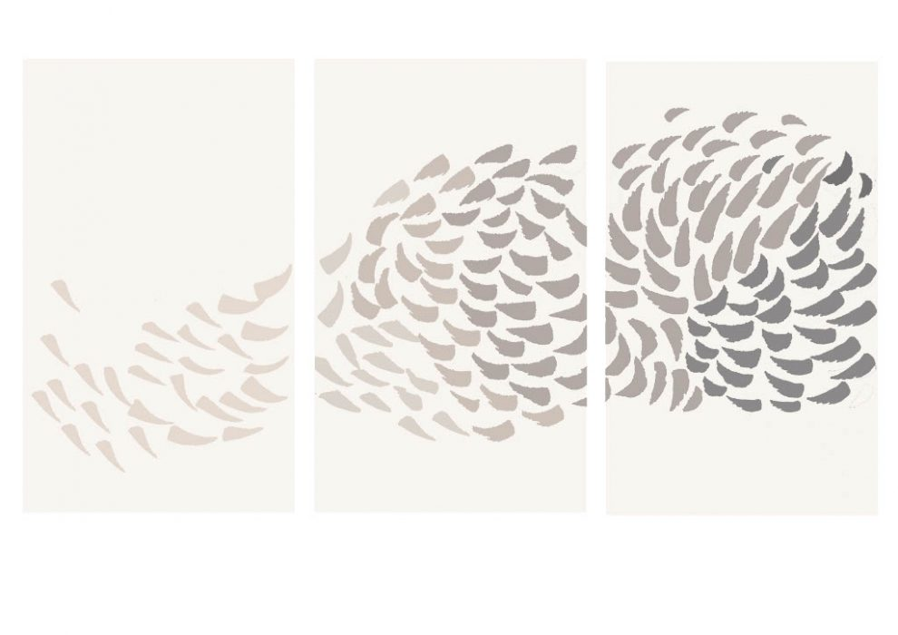 Image shows drawing of Murmuration Triptych by Guilded artist Anna Gravelle